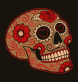 mexican sugar skull on a dark background vector image vector image