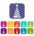 party hat icons set vector image vector image