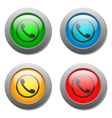 Phone handset icon set on glass buttons vector image