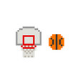 pixel art 8-bit basketball ring with ball vector image vector image