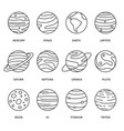 planets and sky stars lines icon set images vector image vector image