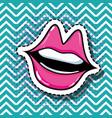pop art mouth patch design vector image