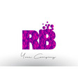 rb r b dots letter logo with purple bubbles vector image