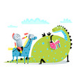 reading book dragon and knight on horse attack vector image vector image