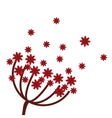 red flowers icon vector image vector image