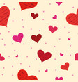 red hearts background seamless pattern vector image vector image
