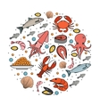Seafood icons set in round shape line sketch vector image
