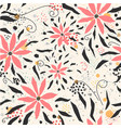 seamless floral pattern with hand drawn pink vector image