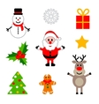 set colorful christmas decorations vector image