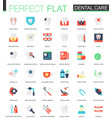 set flat dental care icons vector image