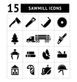Set icons of sawmill timber and lumber