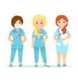 set nurse characters cartoon vector image vector image