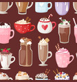 set of different coffee cups types mug with foam vector image vector image