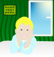 Smiling boy on the bed near the window vector image vector image