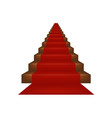 stairs covered with red carpet vector image vector image