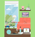 stay at home and do yoga poster template vector image
