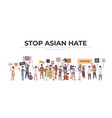stop asian hate mix race people in masks holding vector image vector image