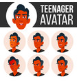 teen boy avatar set face emotions flat