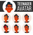 teen boy avatar set face emotions flat vector image vector image