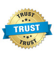 trust round isolated gold badge vector image vector image