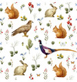 watercolor forest animal pattern vector image