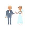 Wedding couple characters with glasses vector image vector image