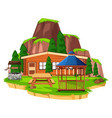 scene with wooden house and field vector image