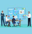 business people group presentation finance vector image
