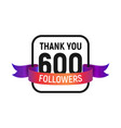 600 followers number with color bright ribbon vector image vector image
