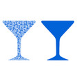 alcohol glass mosaic of binary digits vector image