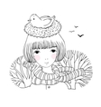 Beautiful young girl and a bird in a nest vector image vector image