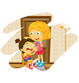 Big sister cheers up when little sister crying vector image vector image
