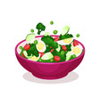 bowl of vegetable salad with egg healthy eating vector image