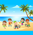 boys and girls playing in band on the beach vector image