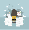 businesswoman very busy on office table vector image vector image