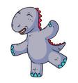 cute cartoon dinosaur dancing isolated on white vector image