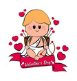 cute cupid boy icon with bow and arrows vector image vector image