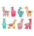 cute llama funny alpaca cute llamas mexican vector image vector image