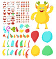 cute monster cartoon character constructor kit vector image
