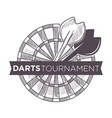 darts tournament playing game with arrows and vector image
