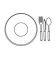 dish with cutlery icon vector image vector image