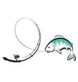 fishing rod with fish catches vector image