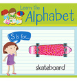 Flashcard alphabet S is for skateboard vector image vector image