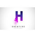 h purple letter logo design with liquid effect vector image vector image