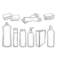 Hand drawn set of products for housekeeping vector image