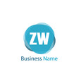 initial letter zw logo template design vector image