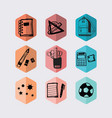 inky black hand drawn hexagon school icons set vector image