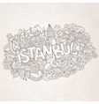 Istanbul city hand lettering and doodles elements vector image vector image