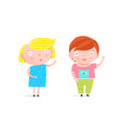 little kids boy and girl vector image vector image