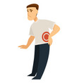 man touching his back male in pain suffering from vector image vector image